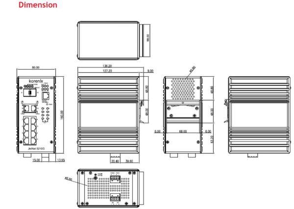 سایز سوییچ صنعتی 10 پورت JetNet 5210G