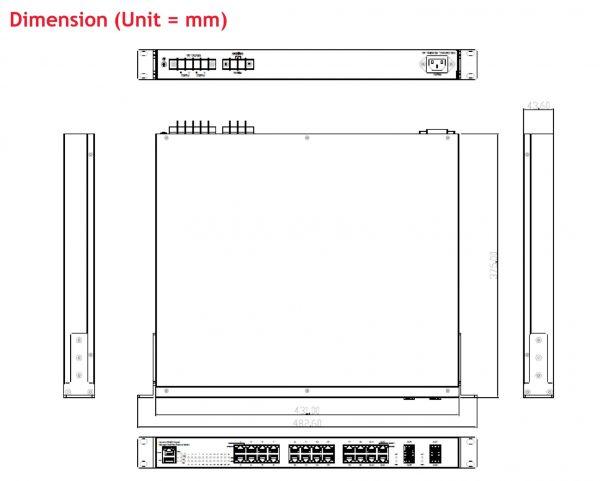 سایز سوئیچ PoE صنعتی 28 پورت سری JetNet 5728G